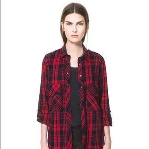 Zara red black plaid shirt in S